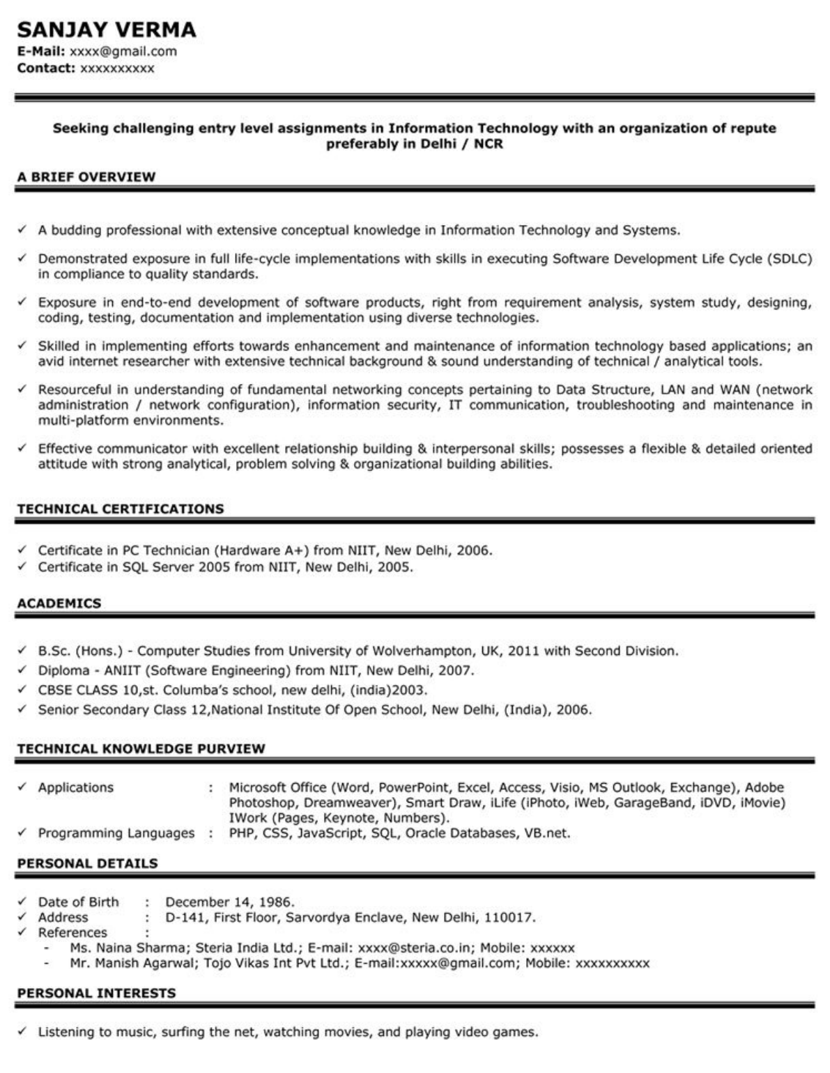 Download sample resume for freshers 1 for free tidyform sample resume for freshers 1 yadclub Images