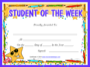Prinable Student Of The Week Certificate